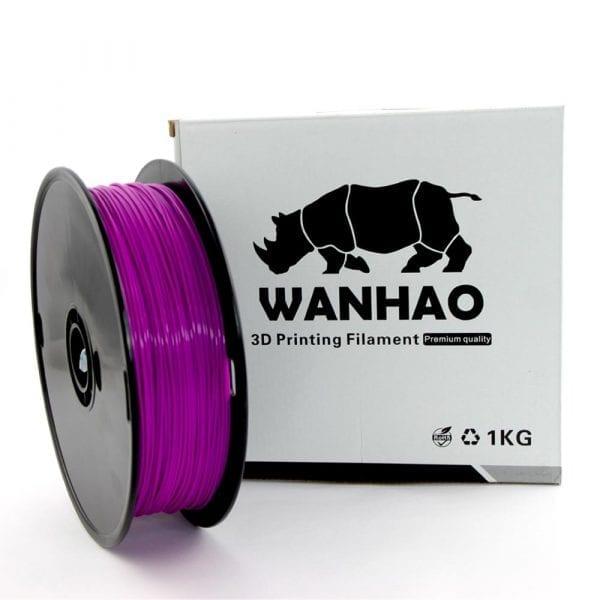 PLA пластик Wanhao, 1.75 мм, translucent purple, 1 кг
